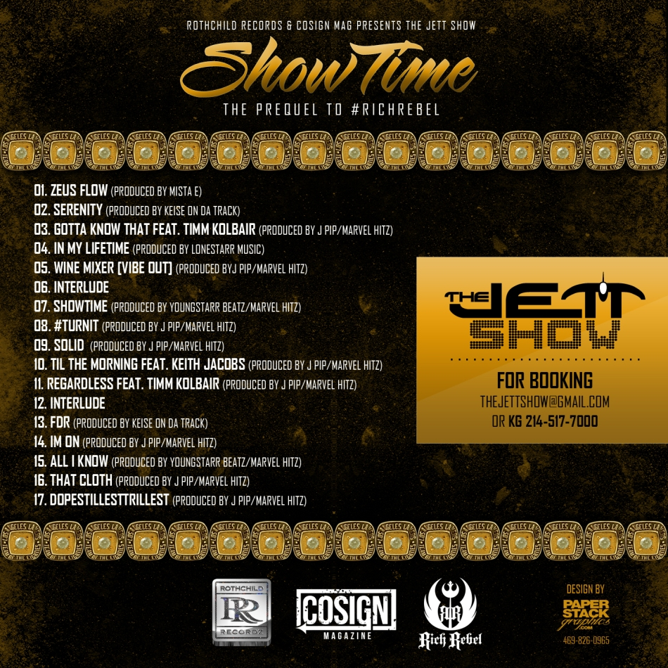 The Jett Show Showtime mixtape cover back